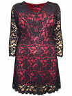 Grace BLACK / RED Overlaid Floral STRETCHY Lace Tunic - PLUS SIZE 18 to 26 PARTY