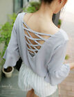 Women Casual 3/4 Sleeve Crew Neck Cross Bare Back Loose Blouse Top