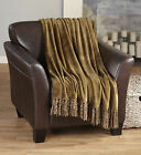 Raya Collection Ultra Velvet Plush Fringe Throw Blanket in Solid Colors
