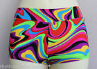 Hotpants/Shorts Psychedelic Swirl Lycra Kids 4 6 8 10 12 14 Dance Gym Cal