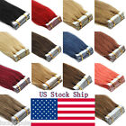 """16""""18""""20"""" Seamless Tape In Virgin Remy Human Hair Extensions Weft Hair 20-60Pcs"""