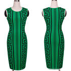 Women's Green Pencil Sleeveless Bodycon Dress Evening Party Cocktail Dress