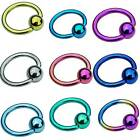 Titanium Ball Closure Rings UK MADE 1.2mm x 8mm BCRs Choice of colours