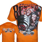 Bodybuilding T-Shirt Monster Bench Orange mit Hardcore Druck super Qualität