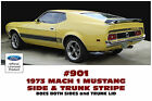 GE-901 1973 FORD MUSTANG - MACH 1 SIDE AND TRUNK STRIPE KIT - LICENSED