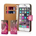 PU Leather Design Book Wallet Case Cover Apple iPhone Models + Screen Protector