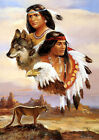 RED INDIANS (CALL OF THE WILD) WOLF AND EAGLE 02 ART PRINT