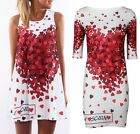Women Summer Heart Printed Sleeveless Crew Neck Party Cocktail Short Mini Dresse