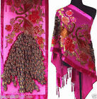 New Kimono Devor Velvet Designer Peacocks Pattern Beaded Silk Scarf Shawl Stole