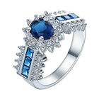 Blue Crystal Ring 925 Silver Plated Women Fashion Jewelry 6 Size 6-11 NF