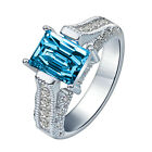 Sapphire Ring 925 Silver Plated Fashion Women Jewelry 4 Size 6-9 NF
