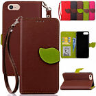 Luxury Fashion Slim Leather Wallet Flip Credit Card Case Cover For iPhone Phones
