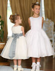 5378 IVORY SATIN AND ORGANZA FLOWER GIRL DRESS WITH BUTTON BACK AGE 8