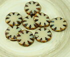 6pcs Rustic Picasso Opaque Czech Glass Window Flat Carved Table Cut Flower Beads