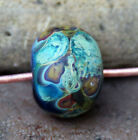 Forest -  Handmade Glass Lampwork Ribbed Round Beads - elasia SRA MTO