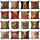 Christmas Dog Cotton Linen Sofa Pillow Case Throw Cushion Cover Home Decor Gift