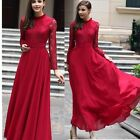 Women's Lace Chiffon Long Sleeve Ball Gown Evening Cocktail Formal Party Dress