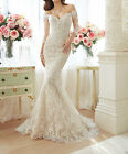 2017 New Off The Shoulder Mermaid Wedding Dresses Lace Bridal Gowns with Sleeves