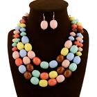 Fashion Women Vintage #B Necklace With Earrings Candy Color Wedding Party Gift