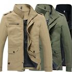New Mens Casual Slim Fit Stand Collar Cotton Warm Zip Up Jacket Coat Outwear SZ