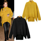 Womens Long Sleeve Turtleneck Knitted Sweater Pullover Jumper Tops Oversized New