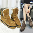 Fashion Womens Casual Flats Heel Winter Buckle Snow Ankle Short Boots Warm Shoes