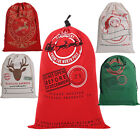 Large Christmas Santa Sack Vintage Hessian Gift Bags Stocking Red 70cm X 50cm