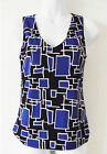 DKNY BLUE MULTI GEOMETRIC CASUAL POLYESTER SLEEVELESS TOP BLOUSE PETITE P M NEW