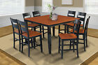 "54"" SQUARE SUNDERLAND COUNTER HEIGHT PUB DINING TABLE SET in BLACK & CHERRY"