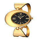 WEIQIN Womens Fashion Oval Dial Gold Watches Arc Ladies Dress Wrist Watch Gift