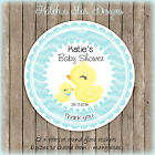 DUCKLING MUMMY BABY SHOWER BOY BLUE PARTY PERSONALISED ROUND GLOSS STICKERS X12