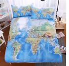 Bedding Set World Map Printed  Bed Cover Home Textiles 3pcs Cool Design Sheet