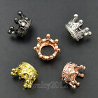 Zircon Gemstones Micro Pave Crown King Connector Charm Beads Bracelet 11x7mm