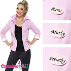 Deluxe 1950s Grease Pink Lady Jacket Ladies Badges 50s Costume Frenchie Rizzo