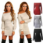 Women Winter Off Shoulder Long Sleeve Jumper Sweater Bodycon Dress Party Club