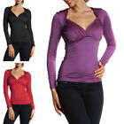 MTN Women's Sexy V Neck Casual Tops Blouse Long Sleeve Slim Stretchy T Shirt