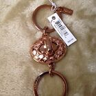 COACH Signature Rose/Gold/Silver Turn Lock Valet Key Chain Ring F65501 $60 READ