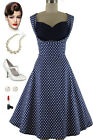 Dashing Vintage Inspired Holiday Party Dress w/Detailed Shelf Bust in NAVY DOTS