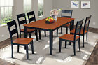 "RECTANGULAR DINING ROOM TABLE SET W/. 18"" LEAF WOOD SEAT CHAIRS,  BLACK CHERRY"