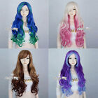 Long Curly Mixed Coloured Synthetic Gradient 70cm Anime Lolita Cosplay Wig+Cap