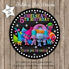 TROLLS BIRTHDAY PARTY PERSONALISED ROUND GLOSS STICKERS X12