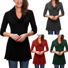 Women Casual Cowl Neck T-Shirt Long Sleeve A-Line Stretch Tunic Knit Top Blouse