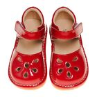 Girl's Leather Toddler Red Petal Patent Style Squeaky Shoes Sizes 1 and 3