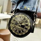 Women Lady Leather Round Clock Crossbody Shoulder Bag handbag Satchel Purse Tote