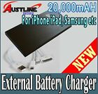 20000mAh Power Bank External Battery Pack 2USB Charger+3in1Cable 4 iPhone iPad