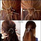Super Cute Heart & Arrow Star & Arrow Hair Pin Clip Moon & Star Gold & Silver