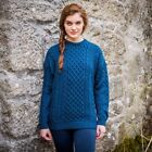 Womens  Blue Aran Fishermans Sweater Made in Ireland of Merino Wool a823 085