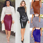 NEW WOMENS LEATHER LEGGINGS PENCIL BODYCON HIGH WAISTED MIDI SKIRT DRESS FLEECE