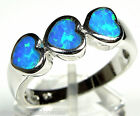 Blue Fire Opal Inlay Solid 925 Sterling Silver Heart Band Ring Size 7