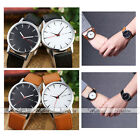 Simple Dot Dials PU Leather Strap Silver Case Quartz Analogue Watches Couple